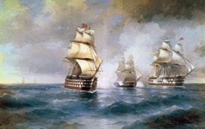 Иван Айвазовский Бриг «Меркурий», атакованный двумя турецкими кораблями, 1892