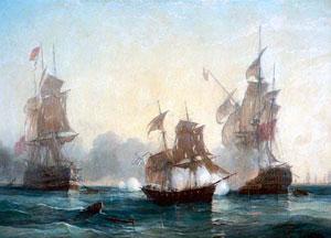 """Роберт Барри """"Бой брига «Меркурий» с двумя турецкими кораблями"""""""
