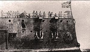 Носовая часть корабля с повреждениями, полученными в Цусимском бою. 1904 г