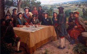 Военный совет в царской ставке. Картина из музея Полтавской битвы.