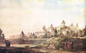 Акварель с видом крепости художника М. М. Иванова (1790) , находящегося при штабе Г. А. Потемкина