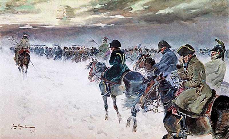 Отступление Наполеона из России. Е. Коссак. 1927 год.