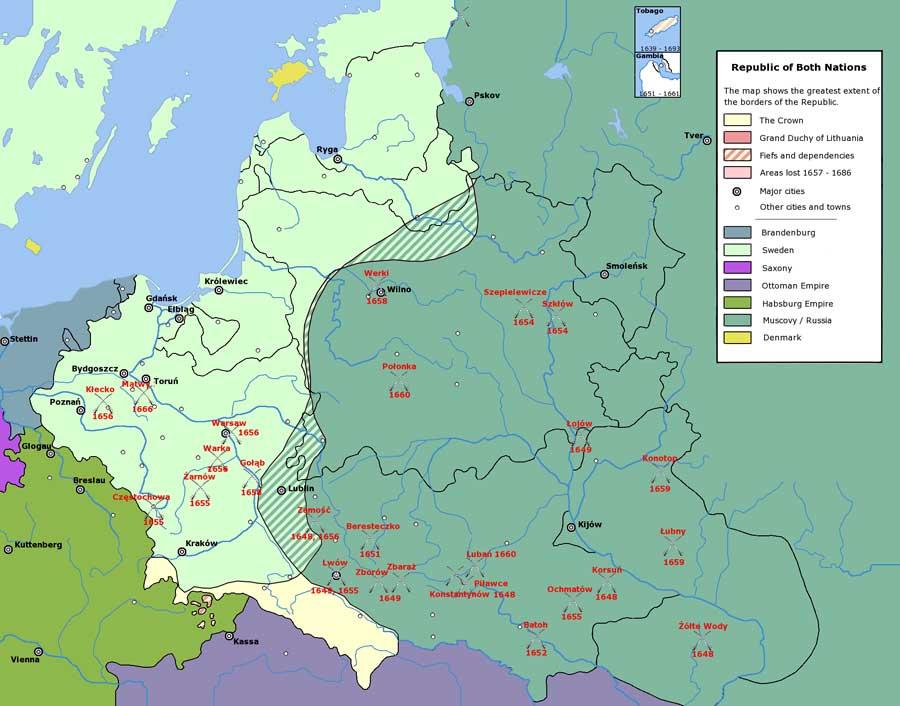 Контролируемые русскими и казацкими войсками территории на момент подписания Виленского перемирия