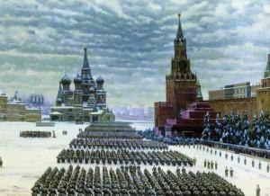 Парад на Красной плозади 7 ноября 1941 года.