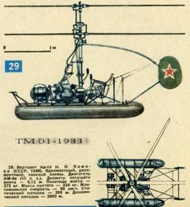 Вертолет Ка-10 Н.И. Камова (СССР, 1949) .