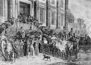 Изгнание иезуитов из Петербурга. Литография Г.Энгельмана