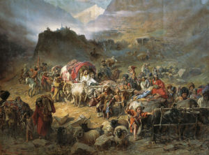 800px-Pyotr_Nikolayevich_Gruzinsky_-_The_mountaineers_leave_the_aul